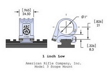 Кольца American Rifle ARС M3 дюймовые (25,4 мм) для Picattinny, низкие M3-1-00-G2-25.4-21