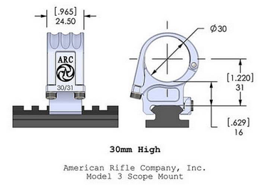 Кольца American Rifle ARС M3 (30 мм) для Picattinny, высокие M3-1-00-G2-30-31