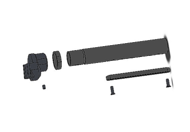 Приклад для АК, Сайга складной (вместо складных) телескопический со смещением 17 мм и щекой РЫСЬ АК2-2 (камуфляж)