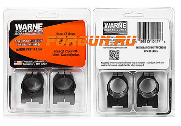 Кольца 25,4 мм для CZ 550 высота 10 мм Warne Fixed Medium, 1BM, сталь (черный)