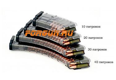 Магазин 7,62x39 мм (.30, .366 ТКМ) на 10 патронов для АК, АКМ, Вепря или Сайги, пластик, Pufgun, Mag SGA762 40-10/Tr
