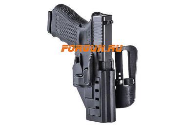 Кобура для пистолета Glock кал. 9х19 мм, .40 17,18,19,22,23,25,31,32 с тройной блокировкой CAA tactical TLH, полимер (черный)