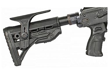 Приклад для АК, Сайга складной (вместо складных) телескопический с щекой и компенсатором РЫСЬ АК2 (черный)