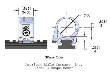 Кольца American Rifle ARС M3 (30 мм) для Picattinny, низкие M3-1-00-G2-30-21