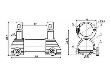 Кронштейн для оптики ЭСТ 78 (ТОЗ-78;99), 30мм