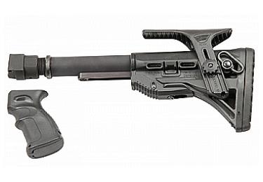 Приклад для АК, Сайга складной (вместо складных) телескопический с щекой и компенсатором РЫСЬ АК1 (черный)