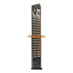 Магазин для пистолета Glock  17, 18, 19, 19X, 26, 34, 45 на 40 патронов ETS, прозрачный, GLK-18-40