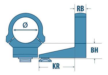 Кольца EAW Apel (26мм) под поворотные основания на Benelli Argo (переднее+заднее), 310/0014/17+316/0120