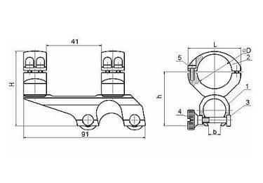 Кронштейн для оптики ЭСТ ТН-9.5 (комбинированные ружья ИЖ-94, Тайга), 26мм