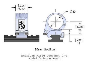 Кольца American Rifle ARС M3 (30 мм) для Picattinny, средние M3-1-00-G2-30-26